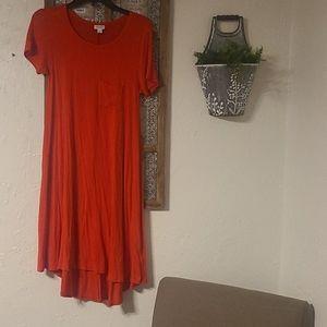 Lularoe red Carly dress XS